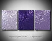 Painting Purple Light Lilac Lavender Abstract - 33x14 High Quality Original 3 Piece Sculptural Impasto Modern Fine Art