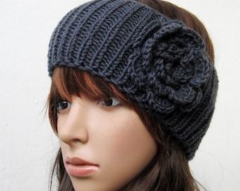 hand knit headband crochet flower headwrap ear warmer hat charcoal grey crocheted flower romantic