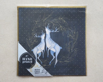 Christmas Card Laurel with Deer, Dark Blue and Gold