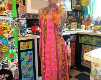 Vtg 60s Neon Psychedelic Halter Maxi Dress