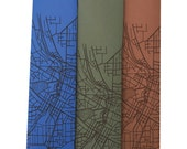 Skinny Neckties - Akron Ohio 1916 Map, on Periwinkle, Olive, or Copper