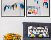 ABSTRACT painting, Large Wall Art, made to order, Acrylic Painting, 28x40, Abstract Art, Blue Painting Yellow, Geometric