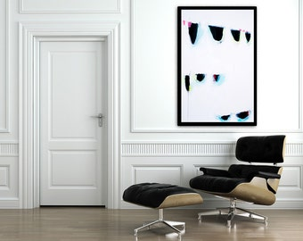 Large ABSTRACT Print, Large Wall Art of Abstract Painting, Giclee Print, 28X40, Abstract Art, Aqua Painting, Pink, Geometric