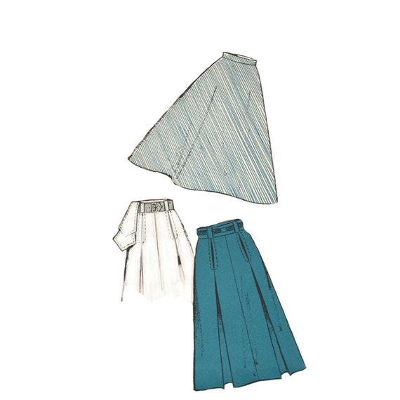 vintage 1940s inverted pleated a line skirt pattern new york