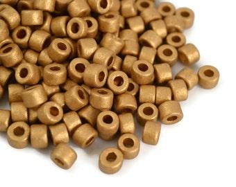 Mykonos Mini Tube - Gold Earthy - 6x4mm - Greek Ceramic Beads - QTY: 50 or 100