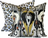 Robert Allen Ikat Bands, Decorative Pillow, Accent Pillow, Pillow Cover, 18x18 20x20 22x22, Grey, Black, Citrine, Brick