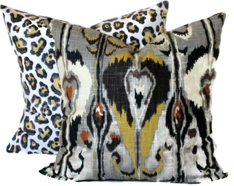 Robert Allen Ikat Bands, Decorative Pillow, Accent Pillow, Pillow Cover, 18x18 20x20 22x22, Grey, Black, Citrine, Brick