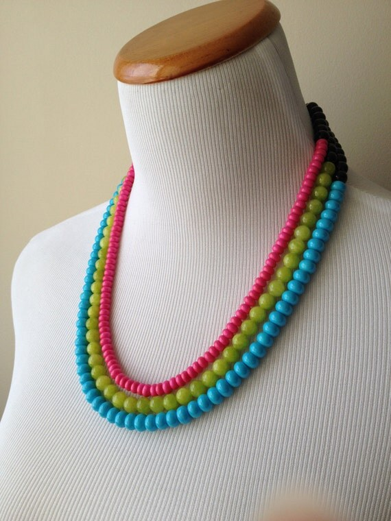 Neon Nights- Hot Pink, Lime Green and Turquoise Triple Strand Statement Necklace - Neon Statement Necklace - Bianca Collection Necklace