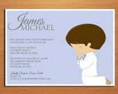 Kneeling Boy First Communion Customized Printable Invitation Cards DIY