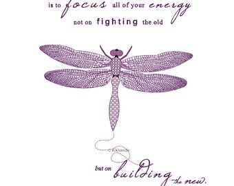 Printable Art Dragonfly illustration typography art print The secret to change inspirational quote purple and lilac pattern art