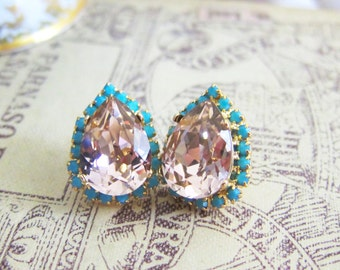 Peach Pink Turquoise Swarovski Crystal Earrings Rhinestone Gemstone Tear Drop Pearl Heirloom Estate Victorian Bohemian Regal Old Hollywood