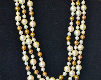 Vintage Necklace, Vintage Long Necklace Pearl Gold tone Beads, Vintage Costume Jewelry, Long Vintage Necklace, Ready to Ship