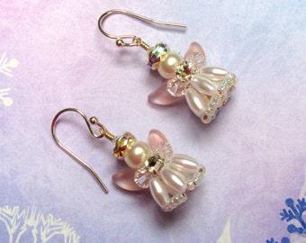 Angel Earrings, Pearl Angel Earrings, Swarovski Earrings, Christmas Earrings, Holiday Earrings, Angel Jewelry, Christmas Jewelry