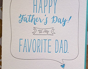 Father's Day Card. Favorite Dad Father's Day Card. From Favorite Child. Letterpress Father's Day card. Favorite Child Father's Day card.