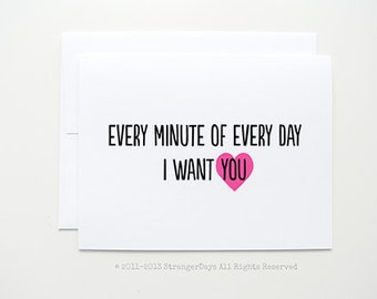 I want you. Valentine's Day Card. Valentine. I love you. Greeting card.