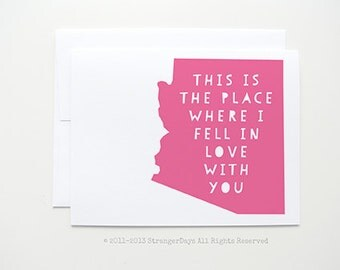 """Long Distance Relationship Card """" This is the place where I fell in love with you"""" Missing you"""