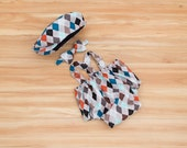 Gray Argyle First Birthday or Cake Smash Outfit for Boys: Newsboy Hat, Suspenders, Bow tie and Diaper Cover, Adorable First Birthday Outfit