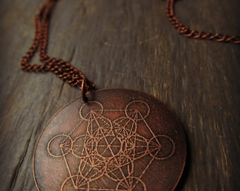 Metatron's Cube - Sacred Geometry - Etched Copper Necklace