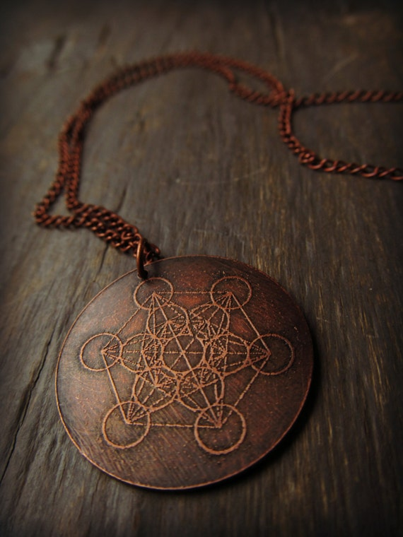 Metatron 39 s cube sacred geometry etched copper necklace for Metatron s cube jewelry