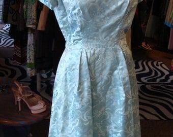 LIGHT AQUA blue SILK dress and jacket set late 50's early 60's M