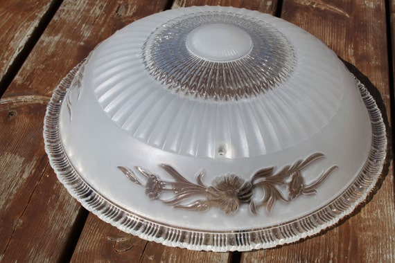 Classic Dome Shade 3 Socket Vanity Light: Vintage Glass Ceiling Light Fixture Dome Shaped Glass Shade