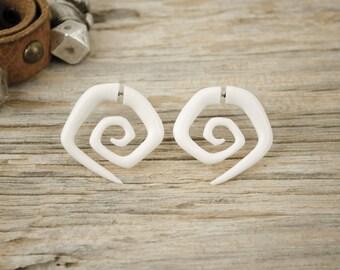 Fake Gauges Bone Hexagonal Tribal White Spiral Earrings - FG044 B G1