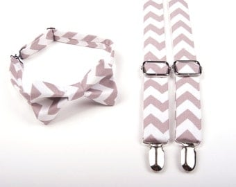 Grey Chevron Bow Tie & Suspenders Set - Baby Toddler Child Boys  - Wedding