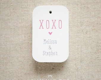 XOXO Wedding Favor Tags (Medium) - Personalized Gift Tags - Hang Tags - Gift Wrap - Swing Tags - Set of 24 (Item code: J404)