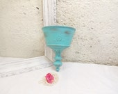 Vintage Shabby Wall Planter/Wall Pocket/Flower Vase/Robins Egg Blue Hand Painted