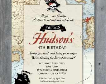 PIRATE Invitation for Birthday Party - Vintage Pirates of the Caribbean style. 7x5 - Print Your Own