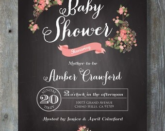 PRINTABLE Baby Shower Invitation - Chalkboard Floral Style - Printable file. Print or email your own. 7x5.