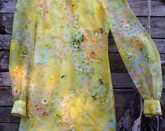 1960's Gorgeous Bright Yellow with embossed Velvet Flowers Sheer Sleeve Mini Shift Dress