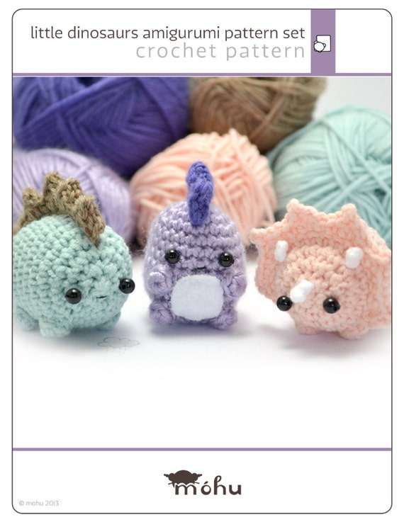 amigurumi dinosaurs crochet pattern set - written crochet pattern