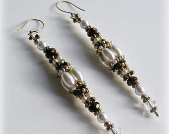 Long Clustered Beaded Bead Earrings - Silver, Chocolate Bronze & White , Wedding, Bridal, Evening Wear