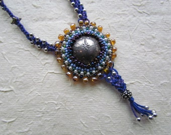Beaded Necklace with Micro Macrame