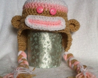 Hand Crocheted Sock Monkey Hat - newborn, toddler, and children's