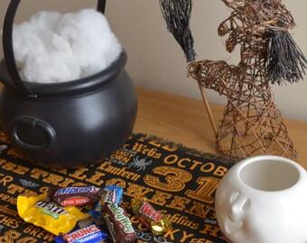 Halloween Black Printed Burlap Table Runner - 6 feet