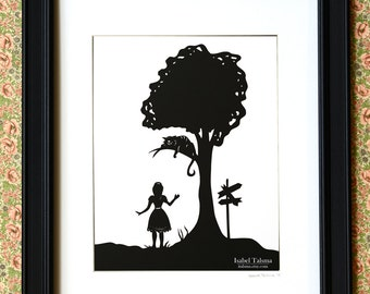SALE Alice Speaks to Cheshire Cat - Alice in Wonderland Paper Cut Silhouette Illustration