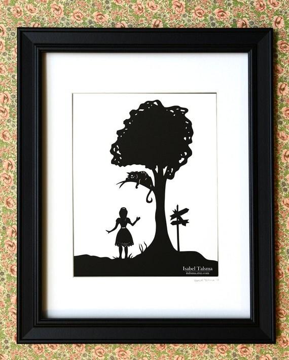 SALE Alice Speaks to Cheshire Cat - Alice in Wonderland Paper Cut Silhouette Illustration