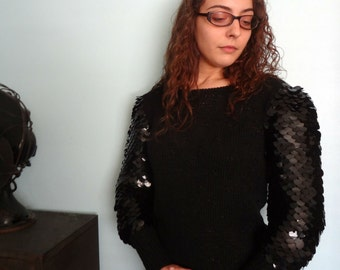 Vintage Black Sweater Large Fishscale Sequin Armor Sleeves Nannell Size Medium