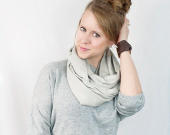 Grey Infinity Scarf, Pale Gray Jersey Circle Cotton Womens Accessory, Light Gray Scarves, Long Winter Accessory Fashion Style Stark