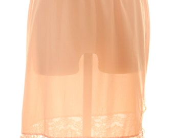 Vanity Fair - Vintage Skirt Slip Half -  Lace Nylon Size Small - Apricot Orange Peach