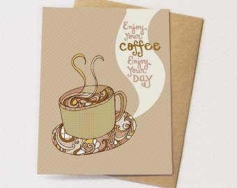 coffeebirthdaycard  etsy, Birthday card