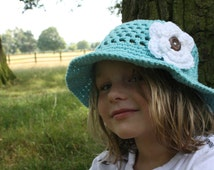 Crochet Sun Hat with Open Weave, Wide Brim & Large Flower, Newborn to 5T-Preteen - MADE to ORDER