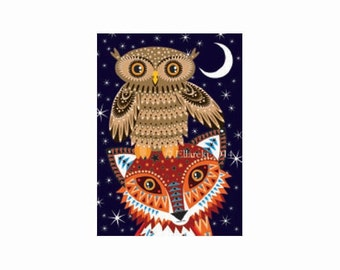 Fox and Owl greetings card
