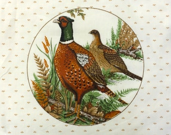 Vintage Cloth Pheasants Quilting / Needlepoint Square