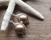 Swarovski Crystal Pearl Weaved Wire Dangle Earring in Sterling Silver-Toni-EG335