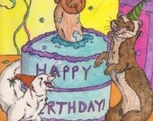 Ferret Fun Birthday, Birthday greeting card, Frolicing ferrets, Troublesome ferrets, cake, balloons, birthday present card, fun, OFG team