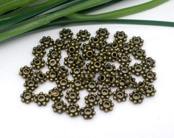 Bronze Daisy Spacer Beads Antique - 4mm - 100pcs - Ships IMMEDIATELY from California - B1062