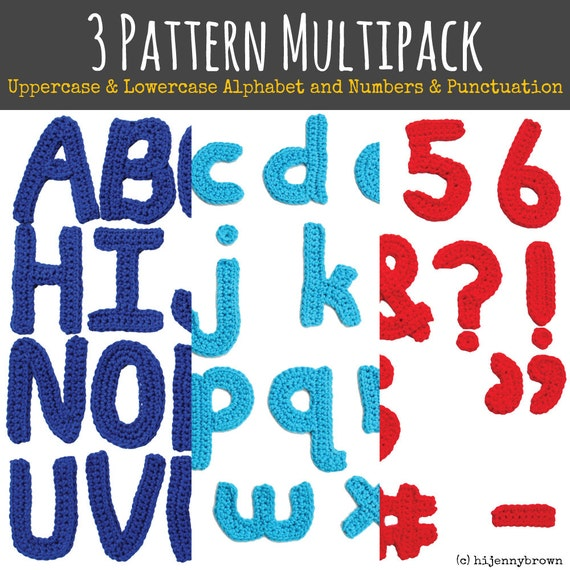 3 Pattern Multipack: Uppercase Alphabet, Lowercase Alphabet, and Number & Punctuation Motif Patterns - Electronic Download